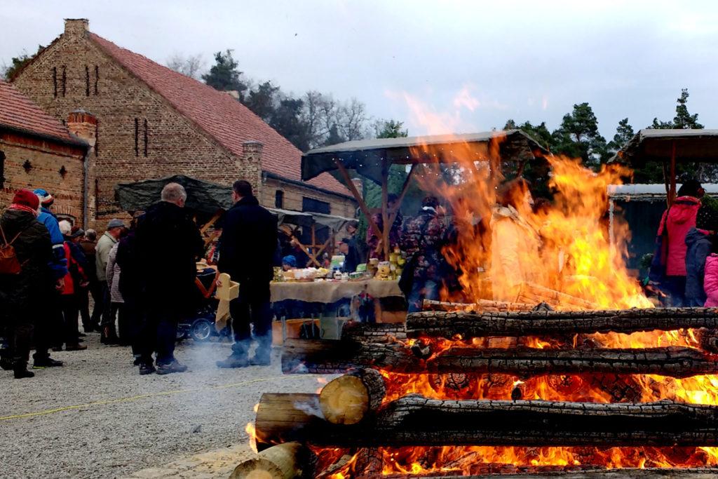 Großes Lagerfeuer bei der Waldweihnacht an der Oberförsterei Hammer