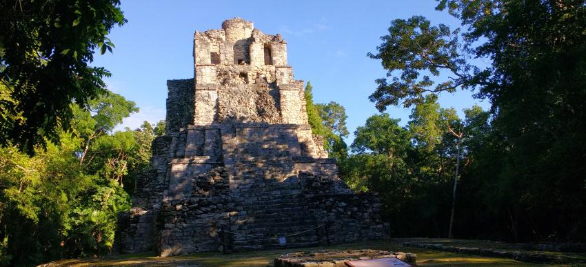 Vor uns die Ruinen, links von uns der dichte Dschungel, in dem ein Brüllaffe Rabatz macht. Was will man mehr?