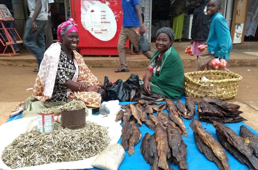 Diese beiden Marktfrauen in Tororo haben mich ermutigt, den Trockenfisch mit ins Flugzeug zu nehmen - ihre Familie würde das auch immer so machen.