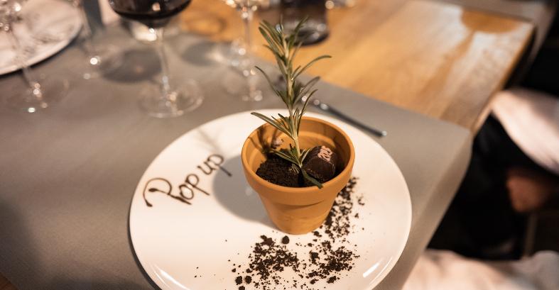 Dessert Blumentopf Praline Rosmarin Pop Up 2025 Magdeburg (c) Daniel Grünig